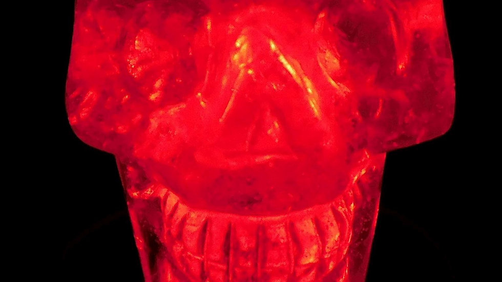 79mm x 78mm x 56mm 505g Cut & Polished Clear Quartz Crystal Skull on LED Stand