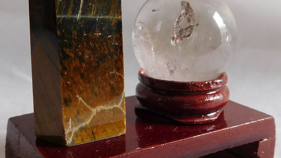 50-55mm 35g Tiger's Eye Crystal Wand & 30mm Quartz Sphere on Wood Display Stand