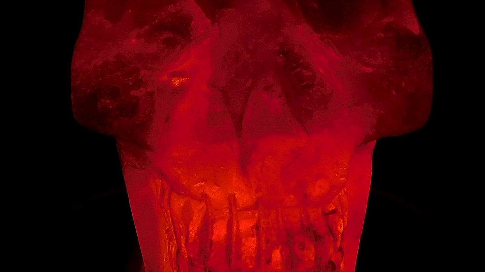 85mm x 73mm x 51mm 428g Cut & Polished Clear Quartz Crystal Skull on LED Stand