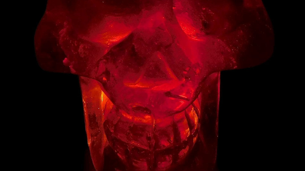 78mm x 71mm x 58mm 406g Cut & Polished Clear Quartz Crystal Skull on LED Stand