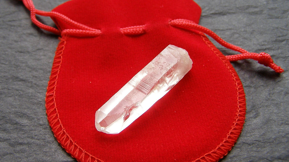 16g approx Single Natural Lemuria Seed Clear Quartz Crystal Point in Red Pouch