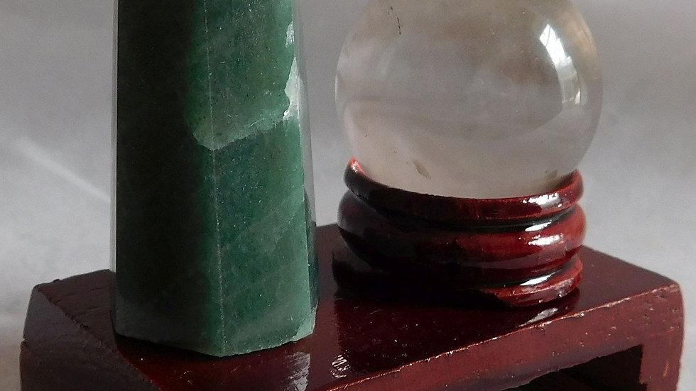 50-55mm 35g Aventurine Crystal Wand & 30mm Quartz Sphere on Wood Display Stand