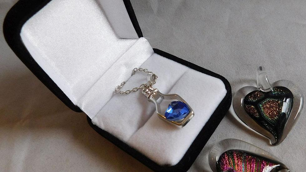 Heart Dichroic Glass Pendants & Silver Colour 'Heart in Drifting Bottle' in Box