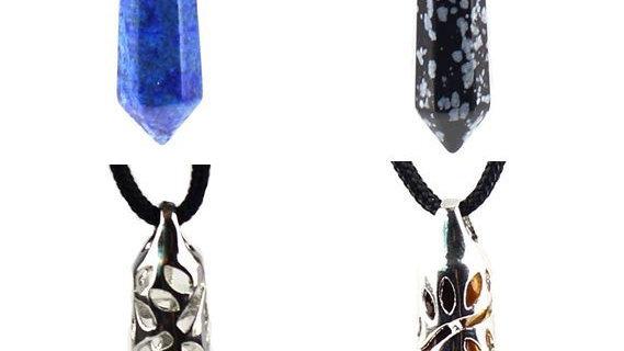 4 Hexagonal Drop Pendants (Lapis Lazuli, Obsidian, Clear Quartz & Tiger's Eye)