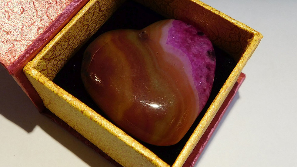 42mm x 44mm x 7mm (22g) Brown and Purple Banded Agate Love Heart Crystal Pendant