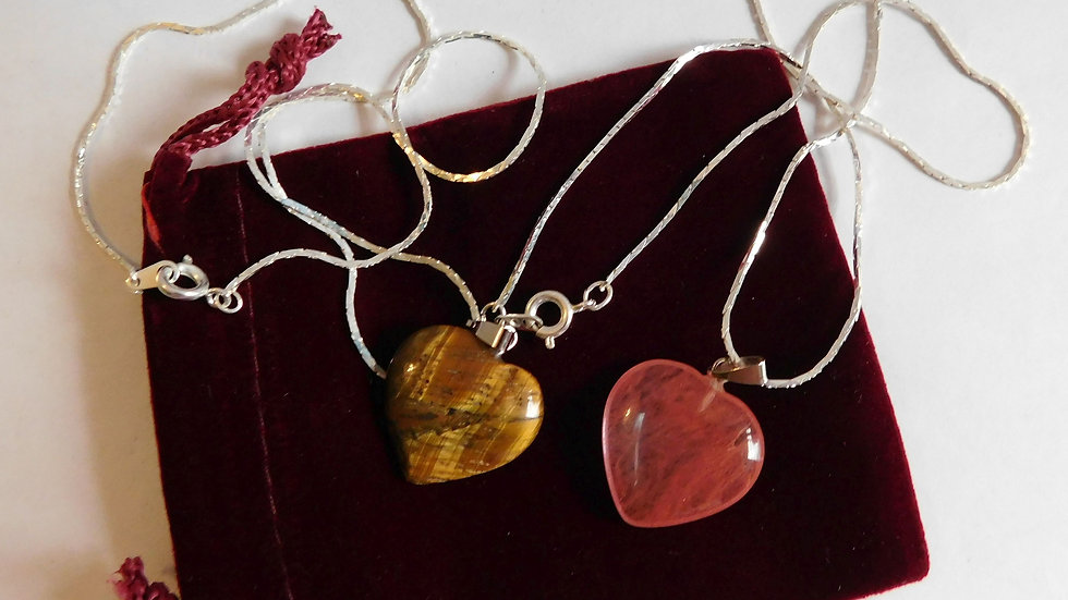 """Red Smelt Quartz & Tiger's Eye Crystal Heart Pendants on 16""""Silver Plate Chains"""