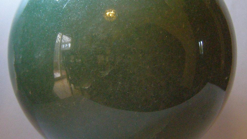 74mm (560g) Natural Green Aventurine Quartz Crystal Sphere Orb on Wooden Stand
