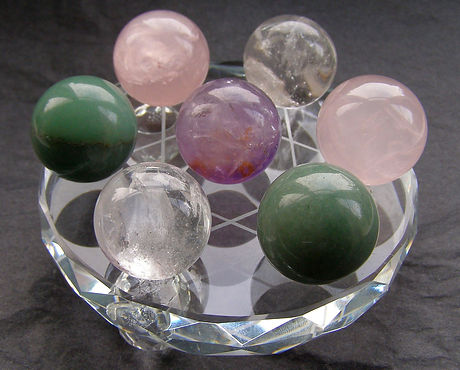 Clear Rose Ametyst Quartz Green Aventurine Crystal Spheres on Stand