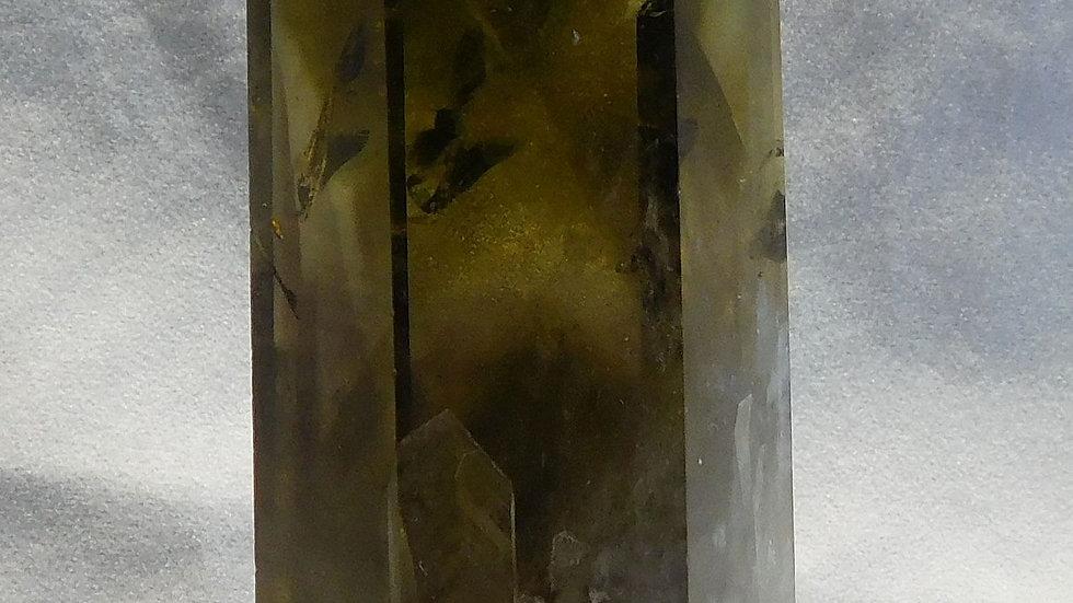 133mm (250g) Cut and Polished Tibetan Smoky Citrine Quartz Crystal Wand Obelisk