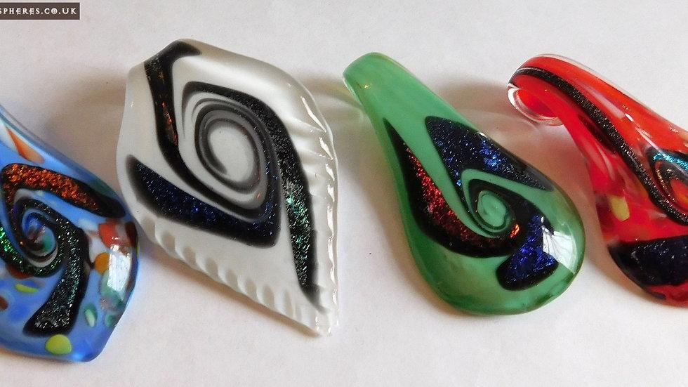 4 Handmade Multi-Shaped 'Big Drop' Multiple Coloured Dichroic Glass Pendants