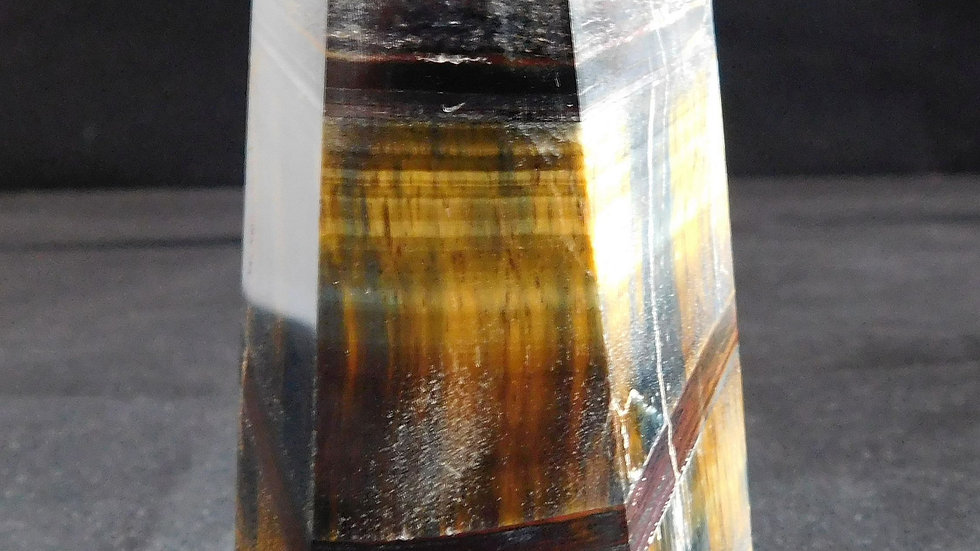 95mm approx. 270g Cut and Polished Yellow Tiger's Eye Crystal Single Point Wand