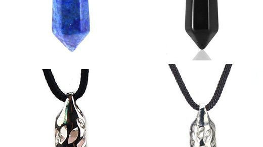 4 Hexagonal Drop Pendants (Lapis Lazuli, Black Agate, Rose Quartz & Amethyst)