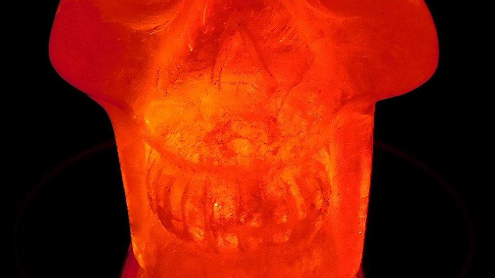 72mm x 65mm x 51mm 311g Cut & Polished Clear Quartz Crystal Skull on LED Stand