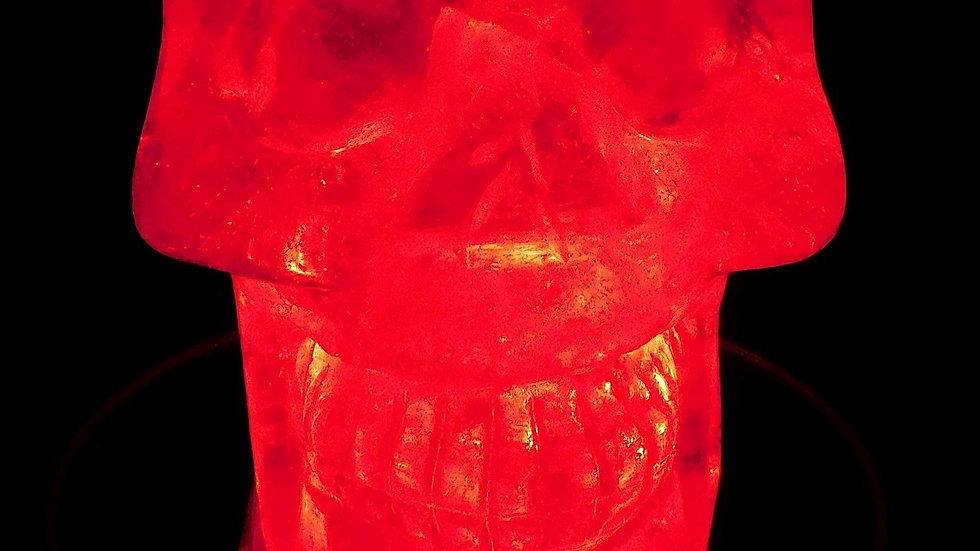 79mm x 71mm x 51mm 393g Cut & Polished Clear Quartz Crystal Skull on LED Stand