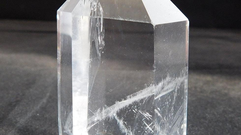 75mm (159g) Cut & Polished Clear Tibetan Quartz Crystal Single Point Wand