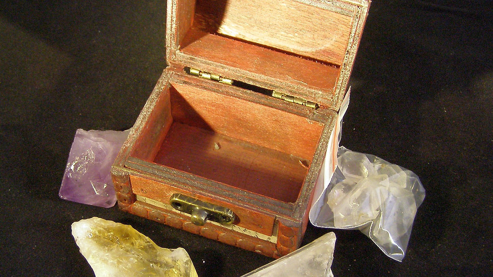 Faux Aged Parcel/Letter Design Wood Treasure Chest Gift Set with Mixed Crystals