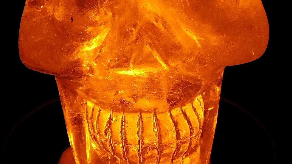 75mm x 72mm x 54mm 405g Cut & Polished Clear Quartz Crystal Skull on LED Stand