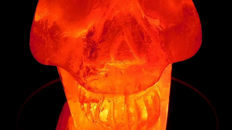 80mm x 74mm x 53mm 419g Cut & Polished Clear Quartz Crystal Skull on LED Stand
