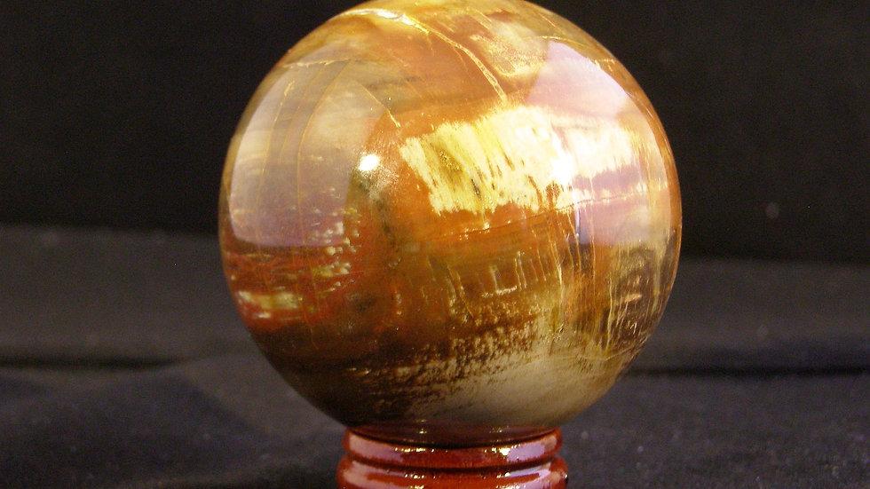 50mm 190g Multi Coloured Fancy Jasper & Plum Tourmaline Crystal Ball on Stand