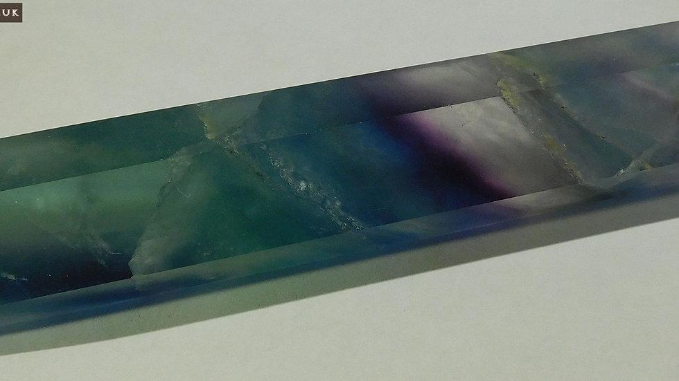 126mm (98g) Multi Coloured Fluorite (Fluorspar) Double Termination Crystal Wand
