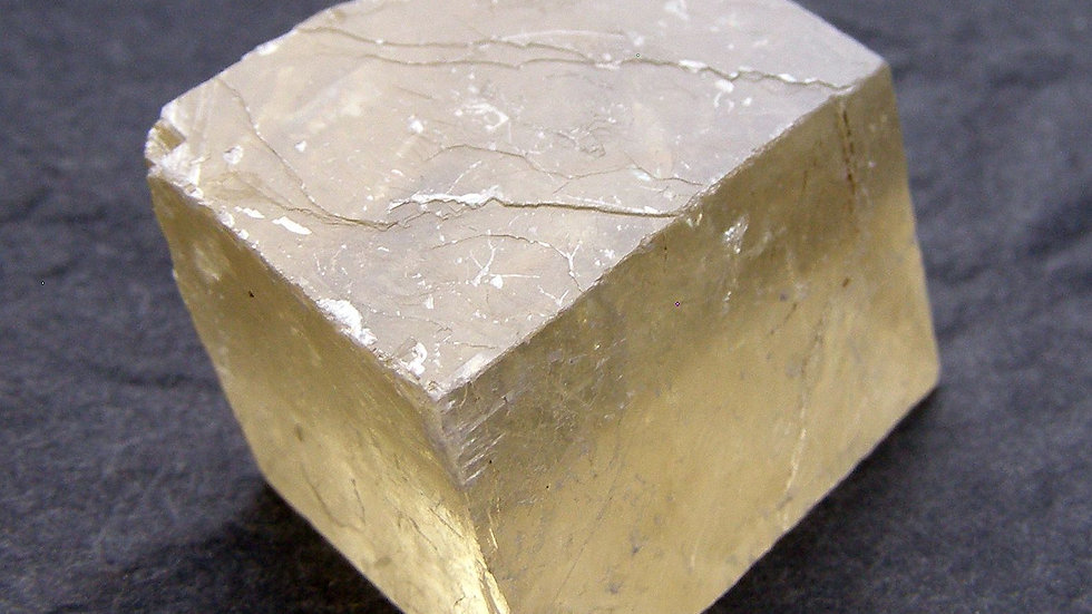 36mm x 22mm x 20mm (50g) Transparent Yellow Calcite Crystal (Iceland Spar)