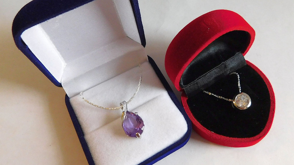 Amethyst Colour Pendant & Rhinestone Crystal Silver Plated Pendant on Chains