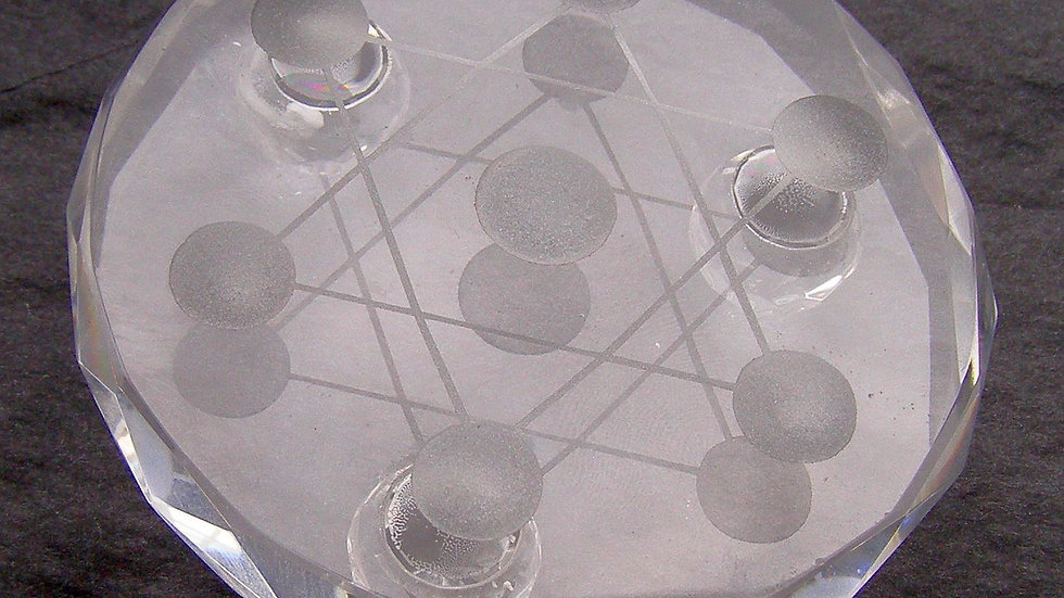 Medium 80mm x 26mm (195g) Clear Crystal Hexagram Sphere Ball Stand Reiki