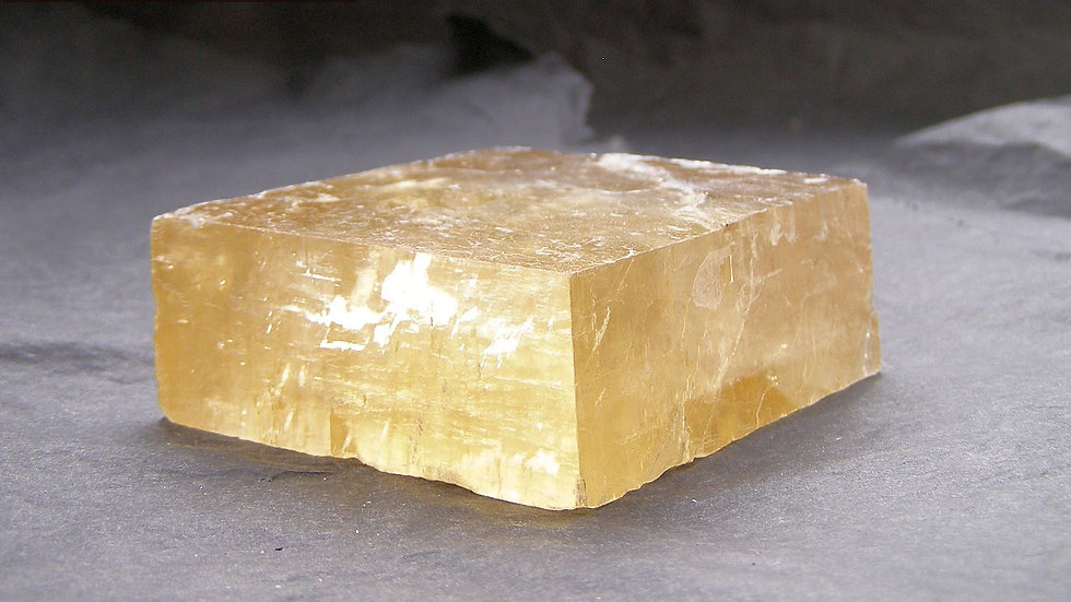 54mm x 47mm x 21mm (156g) Transparent Yellow Calcite Crystal (Iceland Spar)