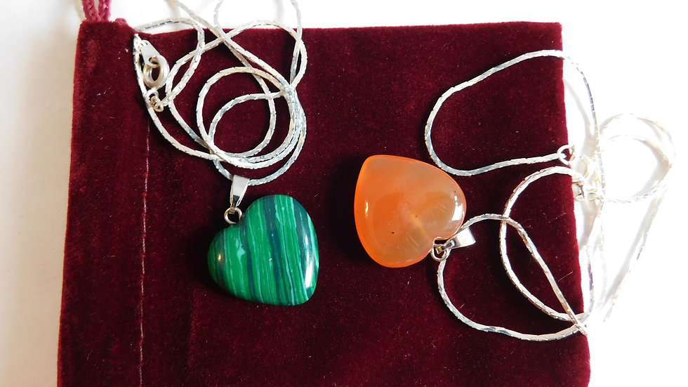 "Malachite & Peach Aventurine Crystal Heart Pendants on 16""Silver Plate Chains"