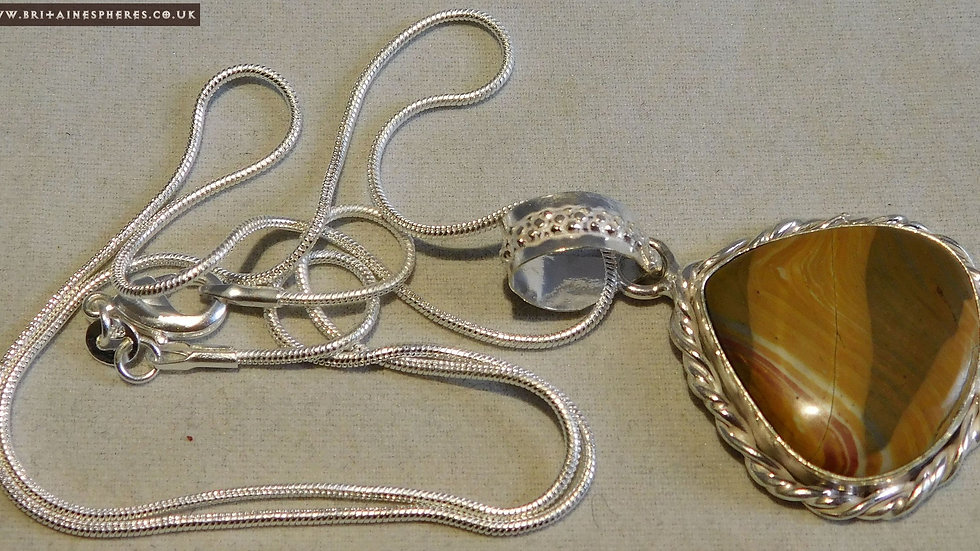 """Silver Plated Brown Banded Jasper Cabochon Pendant on a 20"""" Silver Chain"""