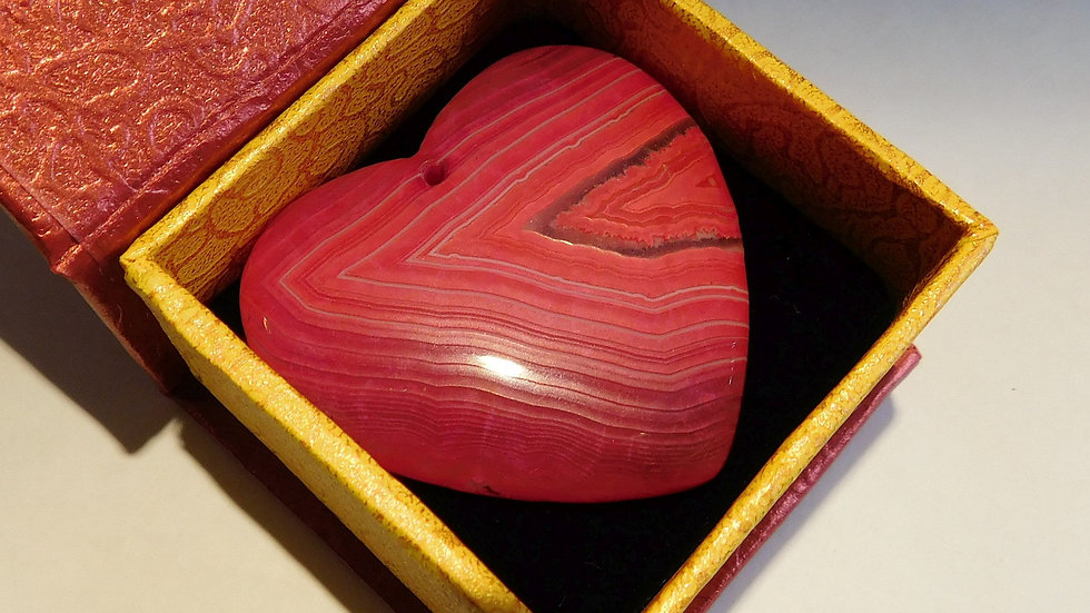 42mm x 46mm x 6mm (19g) Red Banded Agate Love Heart Crystal Pendant