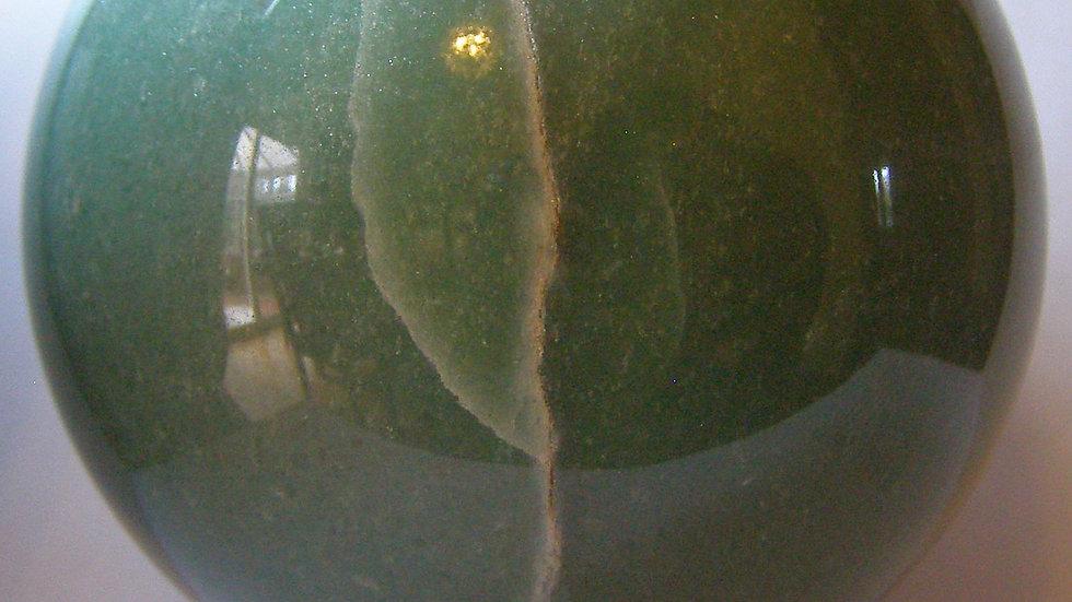 75mm (576g) Natural Green Aventurine Quartz Crystal Sphere Orb on Wooden Stand