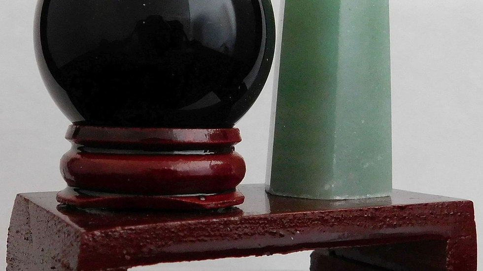 50-55mm 35g Green Aventurine Crystal Wand & 39mm Obsidian Sphere on Wood Stand