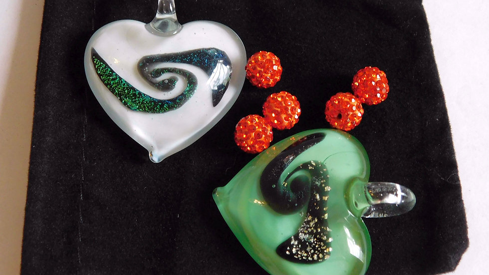Pair of Hand Made Heart Shaped Multiple Coloured Dichroic Glass Pendants & Beads