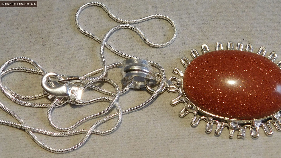 """Silver Plated Goldstone Cabochon Pendant on a 20"""" Silver Chain"""