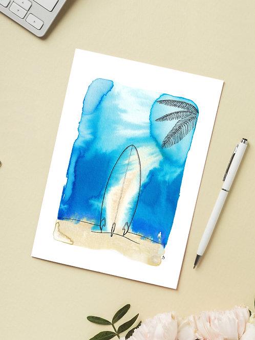 Carte 'Surf sous les Tropiques' / Carte postale A6 10x15