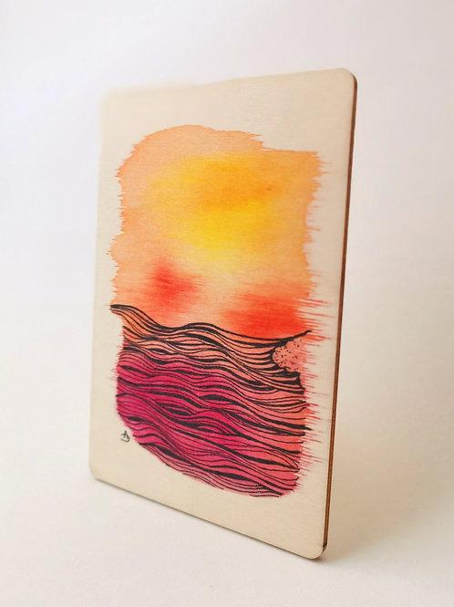 Peinture Originale sur Bois 'Vague au coucher du soleil' I Petit format