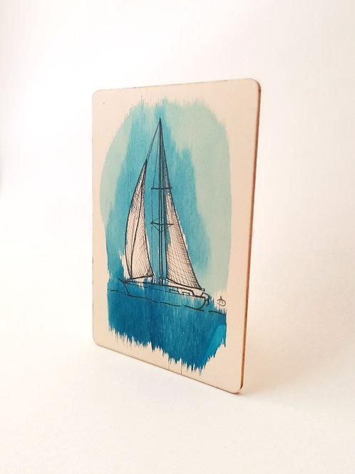 Peinture Originale sur Bois 'Voilier bleu' I Petit format