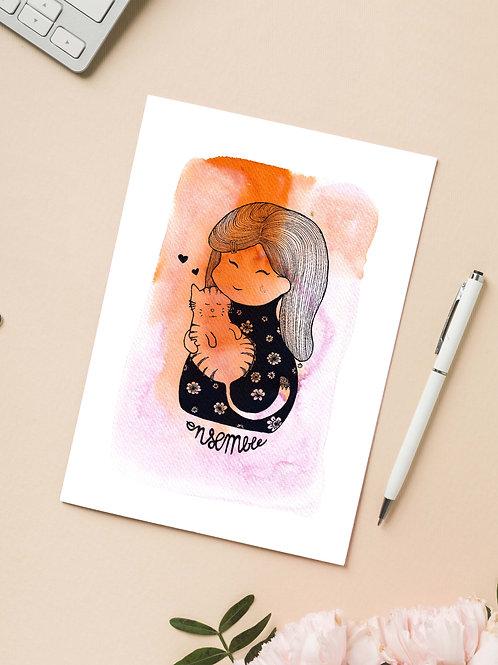 Carte 'Ensembe, Petite fille et son chat' / Carte postale A6 10x15