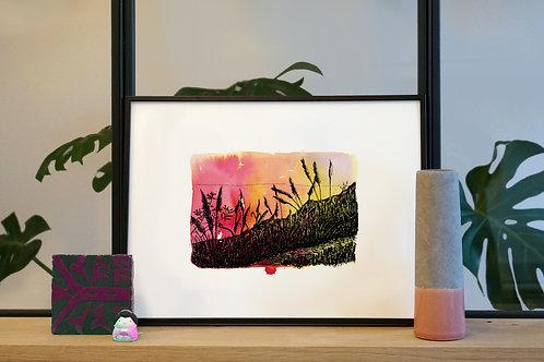 Illustration 'Coucher du soleil sur Big Sur' / Affiche 30x40