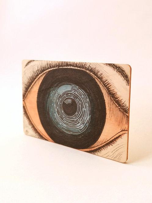 Peinture Originale sur Bois 'L'oeil bleu' I Petit format