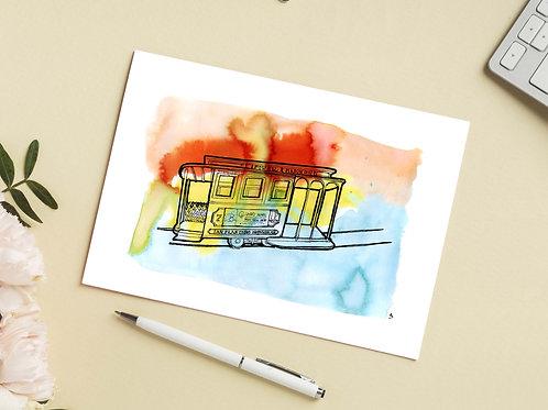 Carte 'Cable cars, tramway iconique de San Francisco' / Carte postale A6 10x15