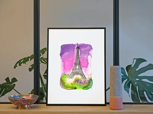 Illustration 'Tour Eiffel, Paris' / Affiche 30x40