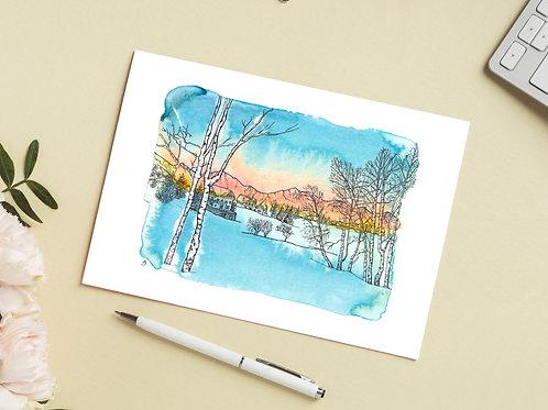 Carte 'Lever du soleil en montagne' / Carte postale A6 10x15