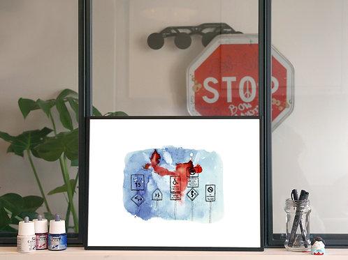 Illustration 'Sur la route, les panneaux américains' / Affiche 30x40