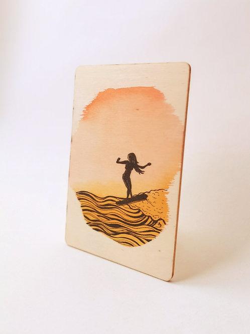 Peinture Originale sur Bois 'Longboardeuse au sunset' I Petit format