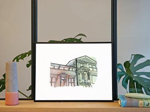 Illustration 'Maisons victoriennes, San Francisco' / Affiche 30x40