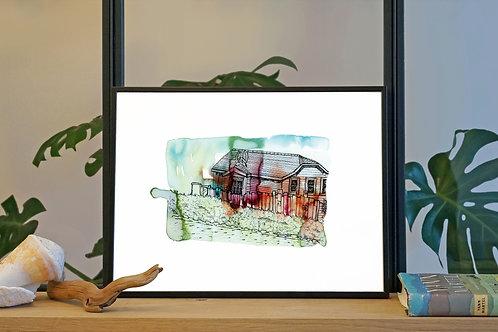 Illustration 'Maison hippy, Los Angeles' / Affiche 30x40