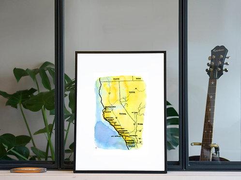 Illustration 'Carte de Californie' / Affiche 30x40