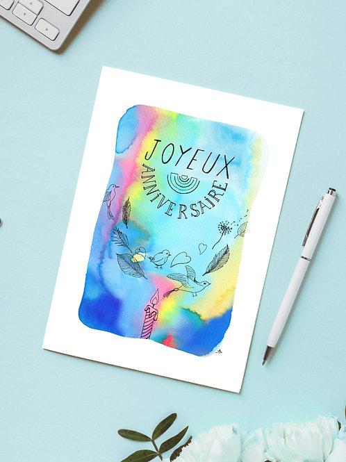 Carte 'Joyeux Anniversaire' / Carte postale A6 10x15